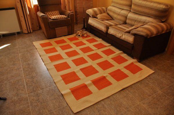 Naranja cuadros 150-230 cm
