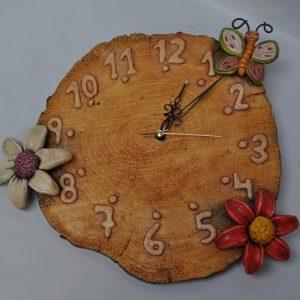 Reloj con Mariposa y Flor
