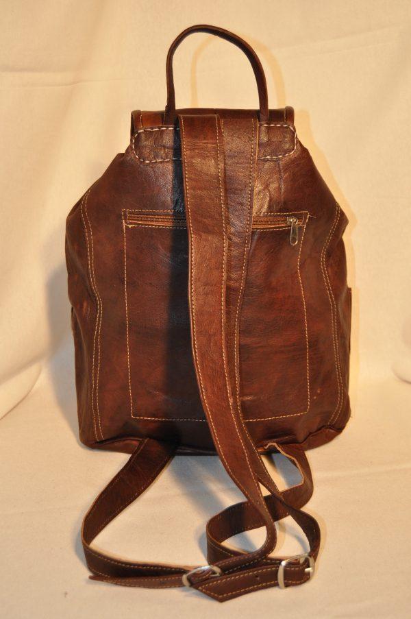 mochila cuero marrón oscuro 40 cm