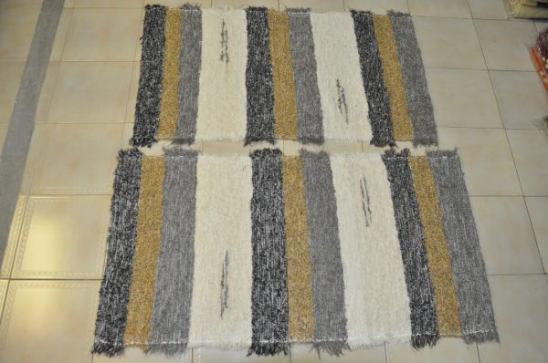 pie de cama marrón, gris,amarillo y crudo 70-120cm