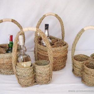 Cesta botellero redonda 4 botellas