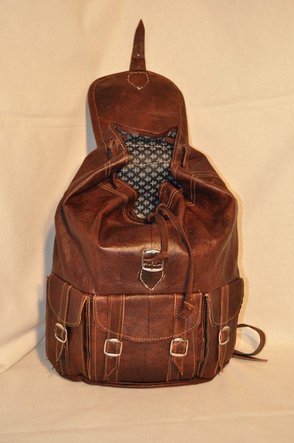 Mochila de piel marrón oscuro 3 bolsillos